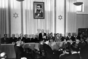 David Ben Gurion vyhlašuje vznik Izraele (1948)